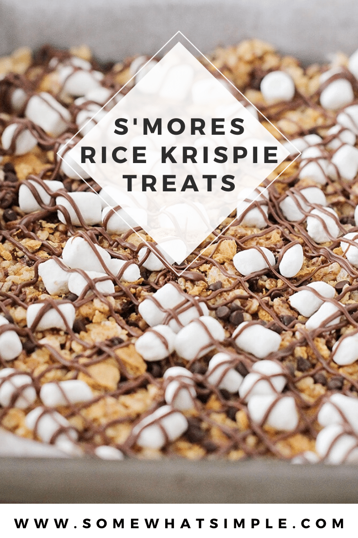 S'mores rice krispie treats are a delicious variation on a classic camping treat! They're fast & easy to make, and taste amazing! Made with the delicious combo of marshmallows, graham crackers and chocolate, there's no rice krispie treat quite like these. #ricekrispietreats #smoresricekrispietreats #ricekrispietreatideas #ricekrispiessmorebars #easydessertidea via @somewhatsimple