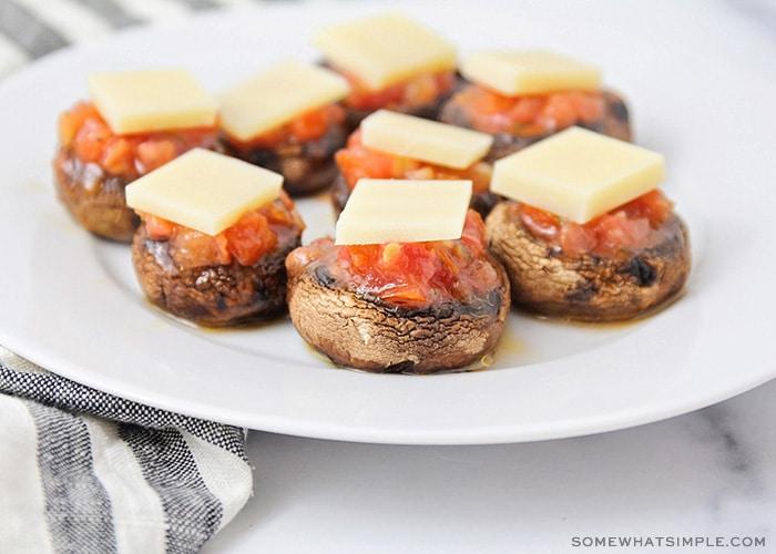 stuffed mushrooms with bruschetta and cheese