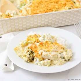 A plate full of chicken divan with a casserole dish full of this easy recipe in the background