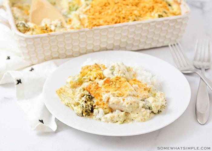 A plate full of chicken divan with a casserole dish full of this easy recipe