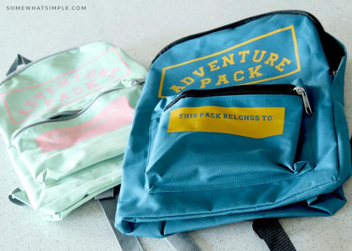 two custom made backpacks for kids