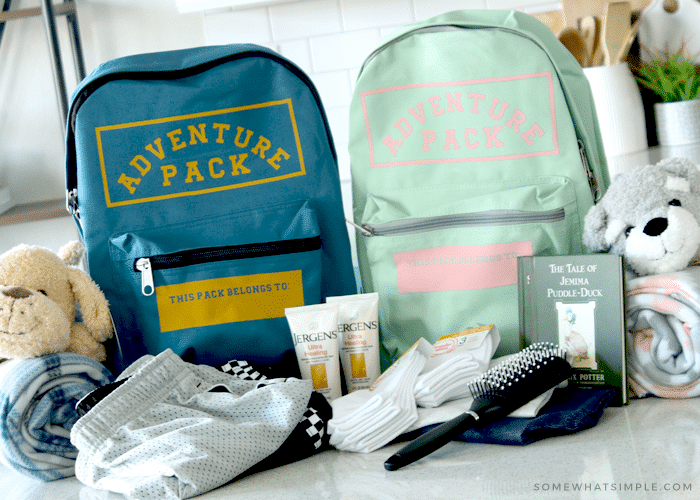 backpacks with supplies for kids in foster care