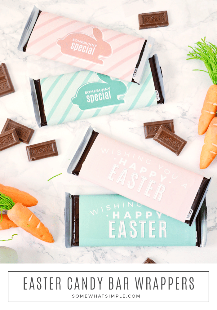 Easter candy bar wrappers are a sweet little gift that you can have ready in just a few minutes! A cute addition to your kid's Easter baskets, or a fun surprise for neighbors and friends! #easter #candy #candybarwrapper #printable #spring #treat #gift via @somewhatsimple