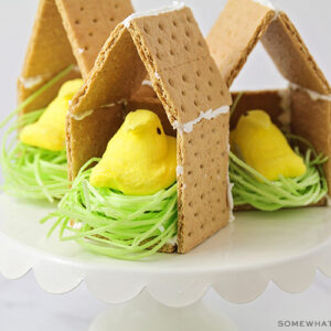 a graham cracker bird house with a peep candy