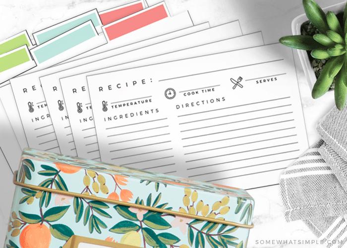 cute printable recipe card templates