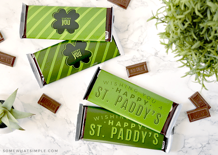 candy bars wrapped in a st. patrick's day label