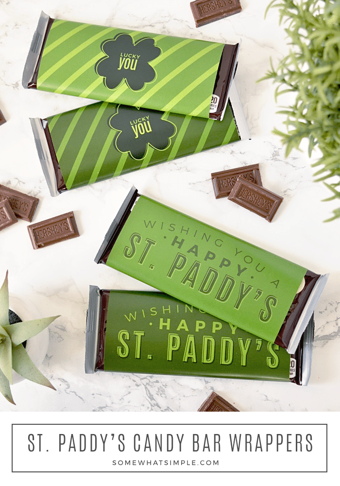 St. Patrick's Day candy bar wrappers are a festive treat that you can make in just minutes for co-workers, neighbors, and friends! #stpatricksday #stpattys #stpaddys #candybarwrapper #candybar #treat #printable via @somewhatsimple