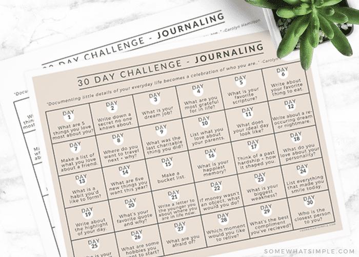 free printable journaling calendar
