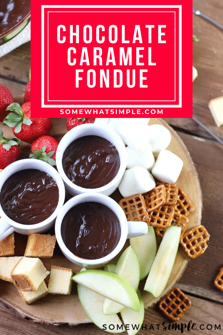 Chocolate caramel fondue is a decadent dessert the whole family will enjoy!  It'll be ready in minutes so grab your favorite foods to dip and start enjoying! This dessert is perfect for parties, family gatherings or anytime you get together with a bunch of people! #chocolatecaramelfoundue #chocolatefonduerecipe #easyfonduerecipe #partyfood #fonduepartyideas via @somewhatsimple