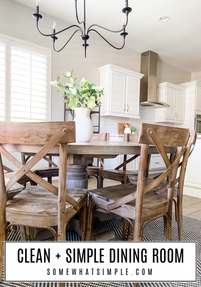 Our plain and simple dining room gets a deep-clean and update for a much-needed spring refresh! Classic design and easy upkeep is the name of the game, making this space absolutely perfect for our family of 7! #diningroom #decor #roundtable #rug #centerpiece #kitchen via @somewhatsimple