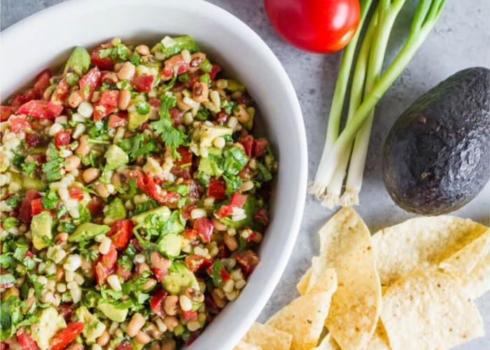 a fresh bowl of corn salsa