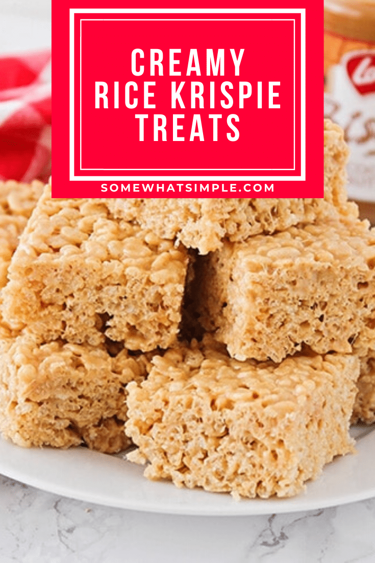 This rice crispy recipe just might change the way you make rice crispy treats forever!!! It is as simple as the rice crispy treat recipe you grew up on, but with one extra ingredient that makes all the difference in the world! They come out extra creamy and delicious and you're guaranteed to love them! #easyricekrispietreats #ricecrispies #ricekrispy #creamyricekrispietreatrecipe #ricecrispytreats #ricekrispietreats via @somewhatsimple