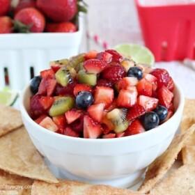 a bowl of strawberry salsa