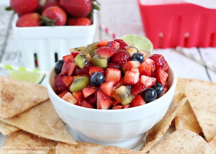 a bowl of salsa made with fresh fruit