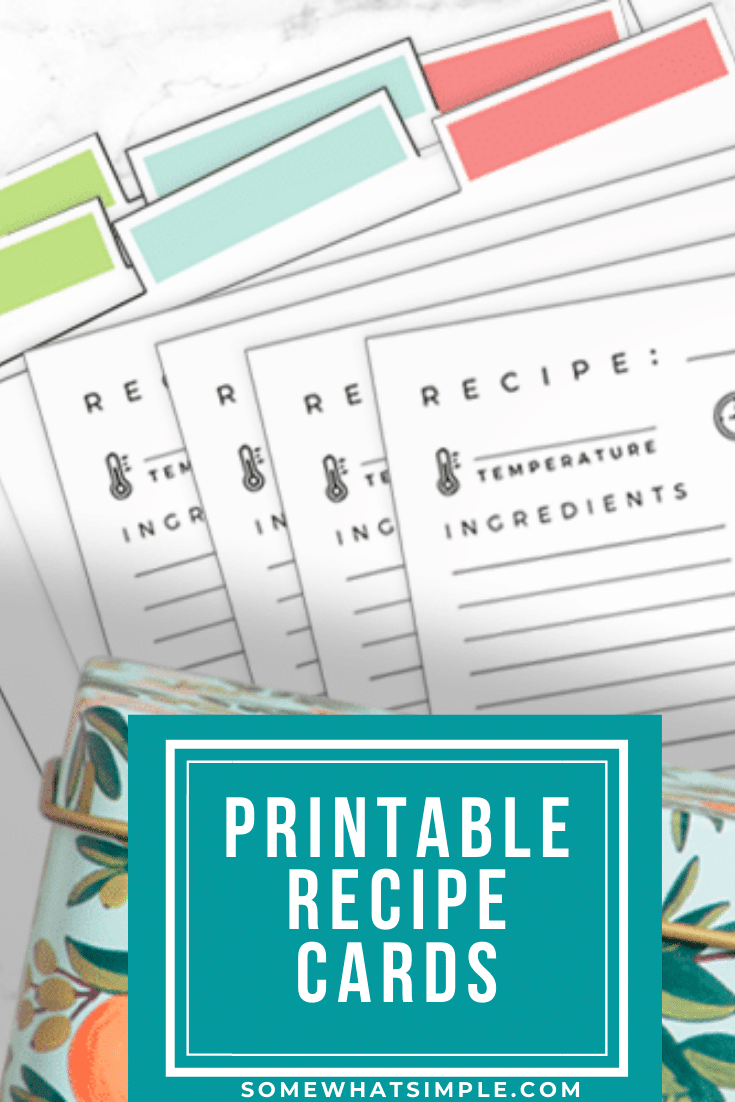 Make your recipe box look better than ever with our free printable recipe card template! This is an organized way to save your family's favorite recipes so you can use them whenever you want! #recipecardtemplate #recipecardfreeprintables #freedownload #free #recipecarddesign via @somewhatsimple
