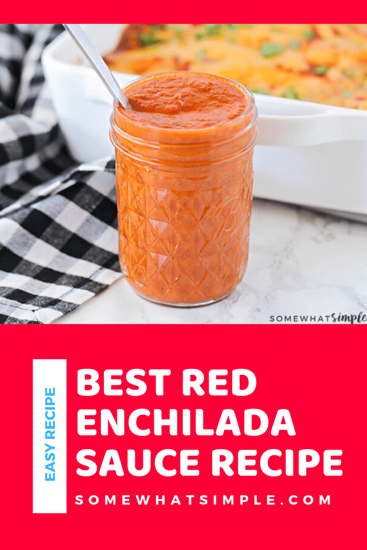 Making homemade enchilada sauce is so quick and easy, and it is the perfect way to punch up the flavor in your favorite Mexican recipes! This recipe is so easy, it only takes 15 minutes to make. Forget the jarred sauces and whip up a fresh batch right now! #bestredenchiladasauce #homemadeenchiladasauce #redenchiladasauce #redenchiladasaucerecipe #authenticredenchiladasauce via @somewhatsimple