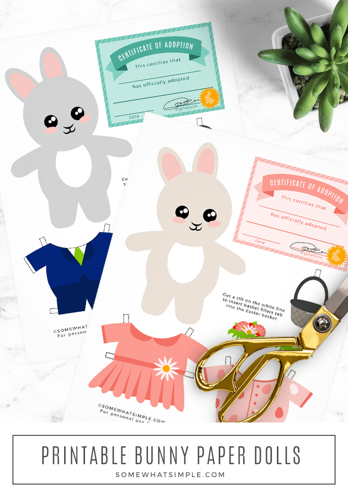Easter Bunny Printable Paper Dolls are a simple craft and activity that will provide HOURS of fun! Download, print, cut out and enjoy! #printable #easter #bunny #paper #dolls via @somewhatsimple