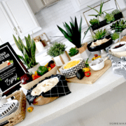 a burrito bar on a kitchen counter