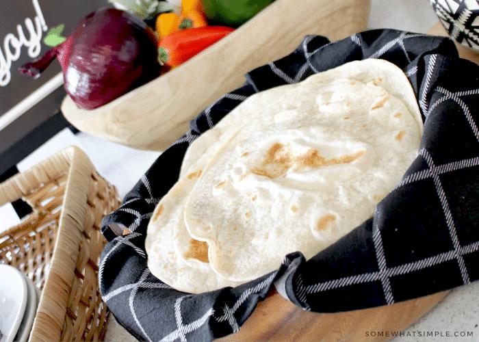 a bowl of homemade tortillas