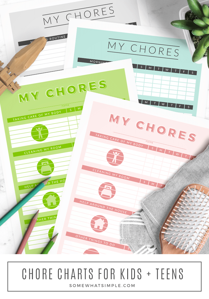 In an effort to help control the mess and to keep their productivity level up, I designed these chore charts for kids that parents can print and change as often as they need to! #chorechart #printable #kidsactivities #chorechartsforkids #printablejobchartsforkids via @somewhatsimple