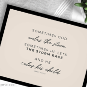 quote about god calming the storm in a black frame