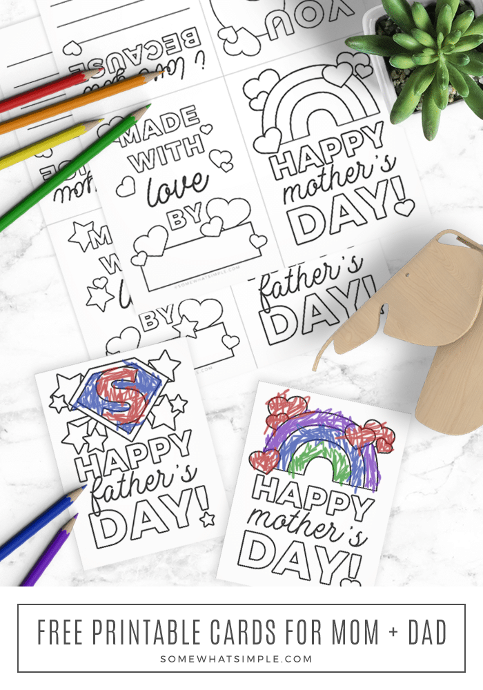 mother's day and father's day printable cards you can color