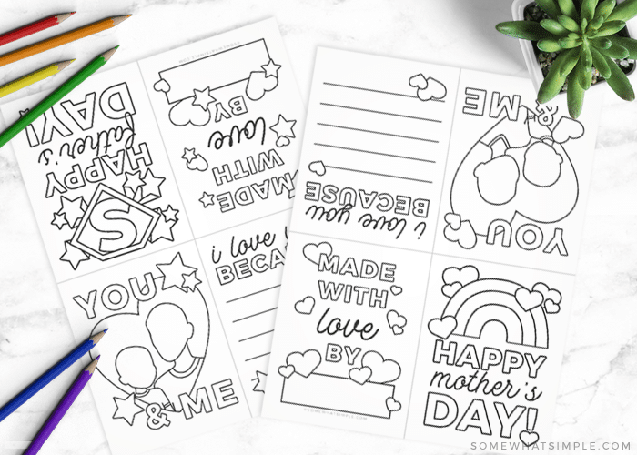 blank printable mothers day cards you can color