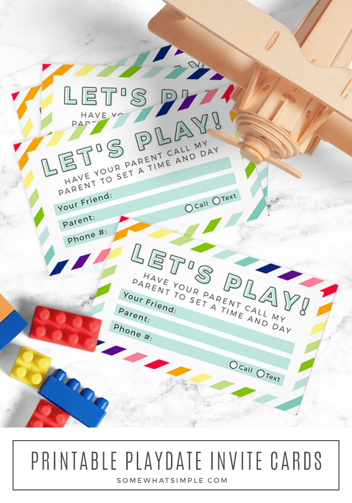 Printable playdate invite cards are the sweat-free solution for arranging playdates with your child's little buddies! #printable #playdate #mom #kids #play #callingcard #cards via @somewhatsimple