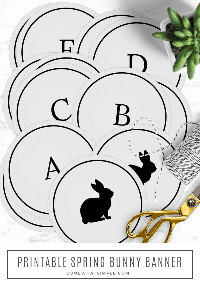 Decorate for Easter with this Easy Easter Bunny Banner that you can complete in 30 minutes or less! #easter #spring #bunny #banner #printable via @somewhatsimple