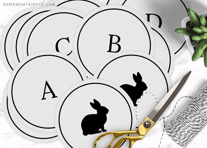 pieces of a printable easter bunny banner