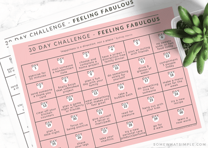 feeling fabulous 30 day challenge calendar printable