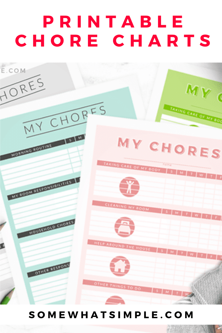 In an effort to help control the mess and to keep their productivity level up, I designed these chore charts for kids thatparents can print and change as often as they need to! #chorechart #printable #kidsactivities #chorechartsforkids #printablejobchartsforkids via @somewhatsimple