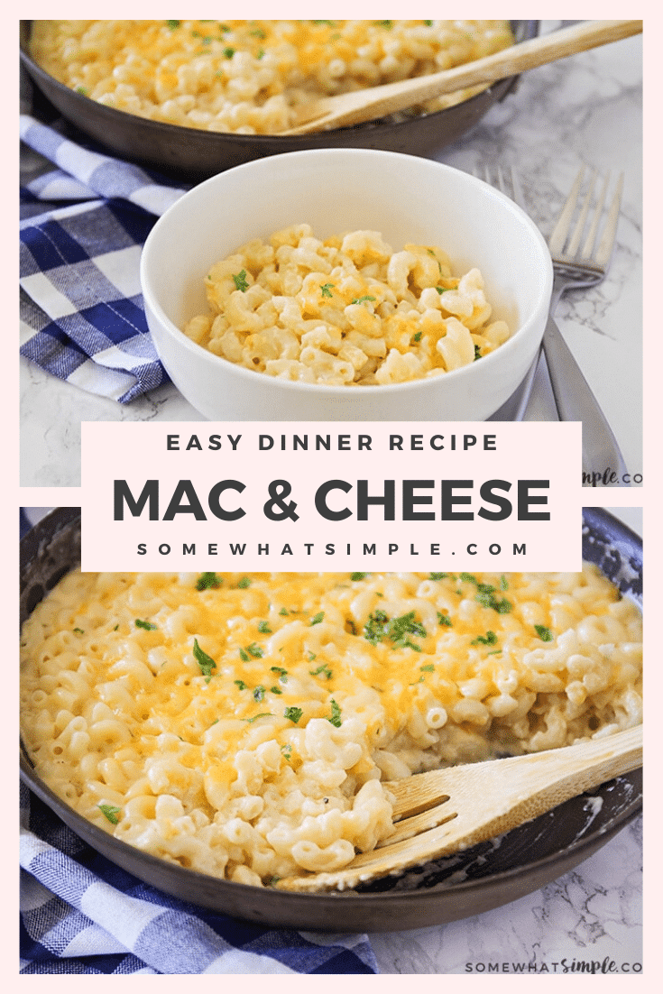 This easy homemade macaroni and cheese recipe is ready in no time! This recipe is creamy, delicious, and takes only minutes to make! This mac & cheese recipe is perfect for a busy night when you don't have a lot of time to spend cooking #easymacaroniandcheeserecipe #stovetopmacandcheese #homemademacandcheese #howtomakehomemademacandcheese #macaroniandcheese via @somewhatsimple