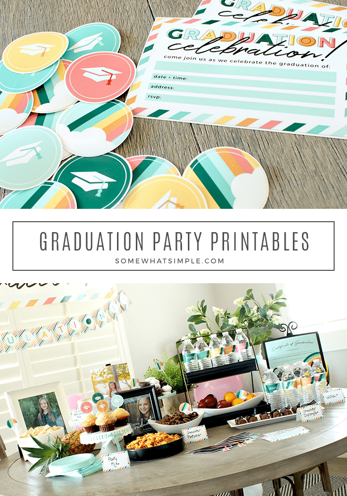 Celebrate your favorite students and their achievements by planning a fun and simple Graduation Party! Grab our free printables and you'll be ready to go with minimal effort and expense! #graduation #party #printable #printables #free #parties #school via @somewhatsimple