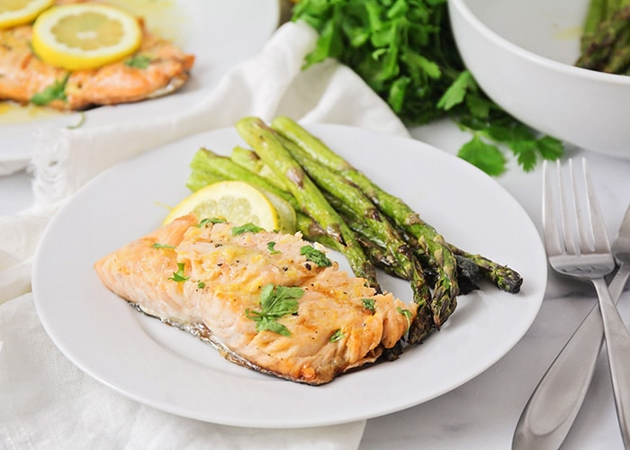 This grilled salmon and asparagus is incredibly flavorful and delicious, and ready in less than thirty minutes. It's the perfect summer meal!