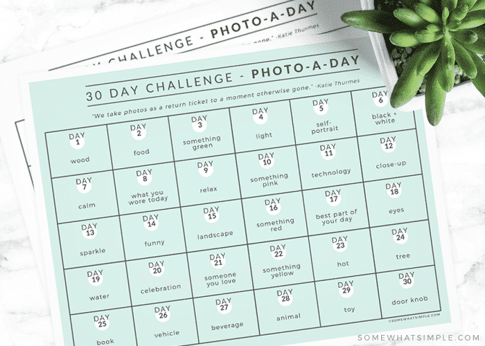 Photo Challenge with different themes to take a picture of each day