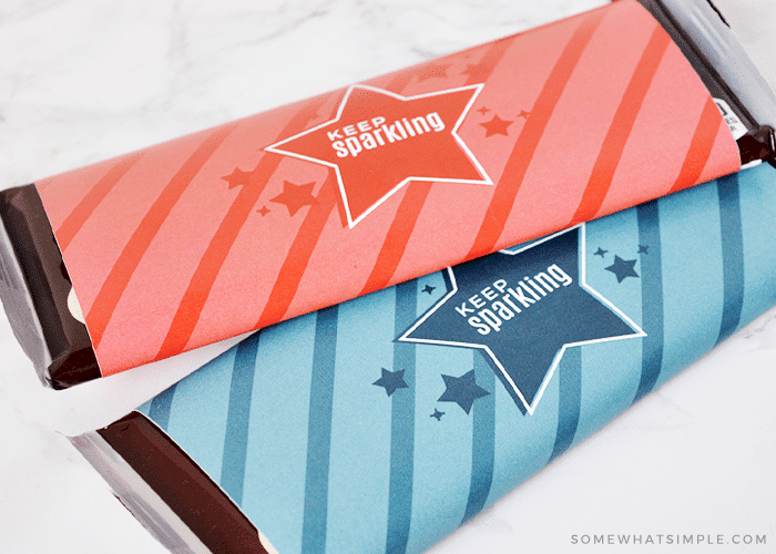 candy bars wrapped in festive july 4th wrappers