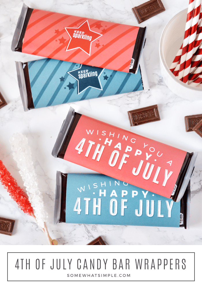 4th of July candy bar wrappers are a festive little treat that can be ready for party guests, neighbors, and friends in just a few minutes! #4thofJuly #candybar #printables via @somewhatsimple