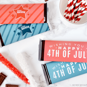 red white and blue paper candy bar wrappers for 4th of July