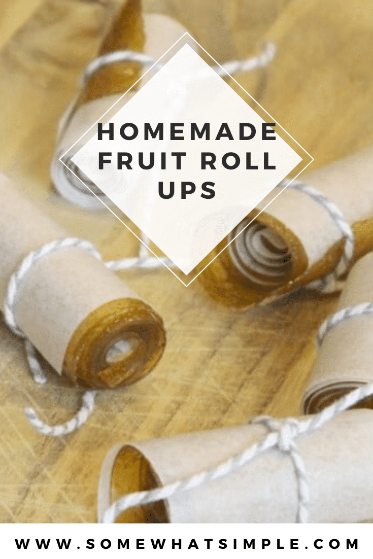 Looking for an easy afternoon snack that is healthy too?  Made only with fresh fruit, these homemade fruit roll ups are super easy to make and taste amazing! #howtomakefruitrollups #fruitrollupsrecipe #healthyhomemadesnacks #homemadefruitrollupvideo #easyhomemadefruitrollups via @somewhatsimple