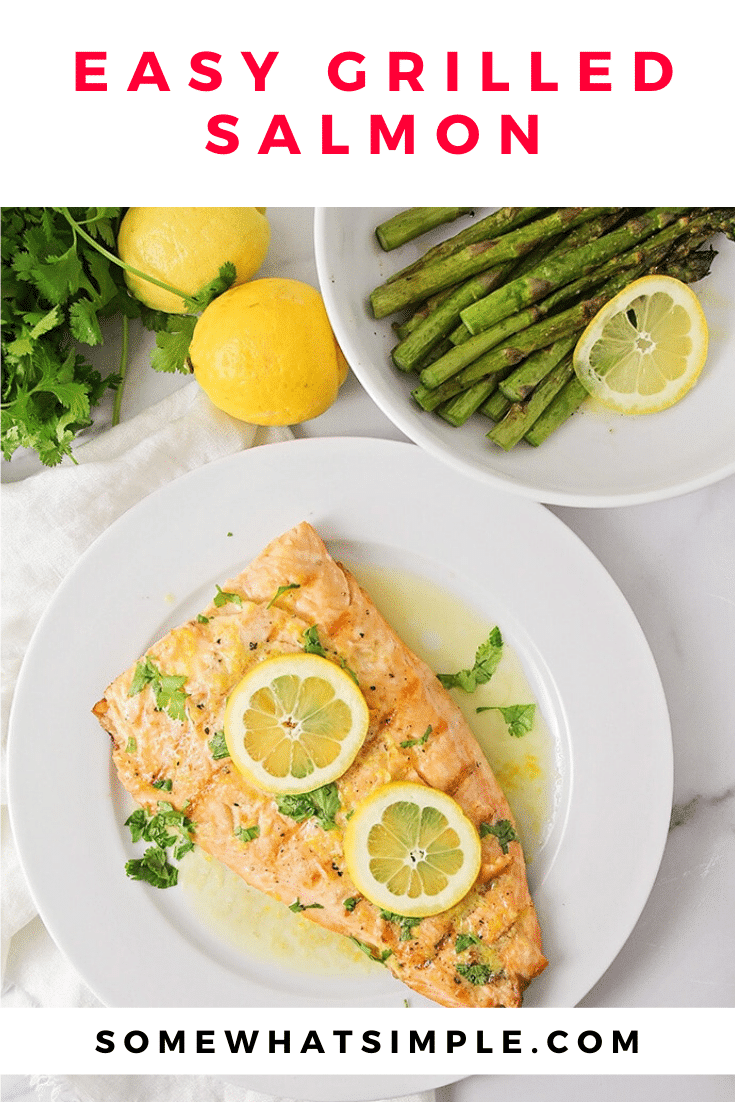 This grilled salmon and asparagus is incredibly delicious and ready in less than thirty minutes. Salmon and asparagus is healthy, delicious and makes the perfect summer meal! #salmon #grilled #asparagus #easydinner #fish via @somewhatsimple