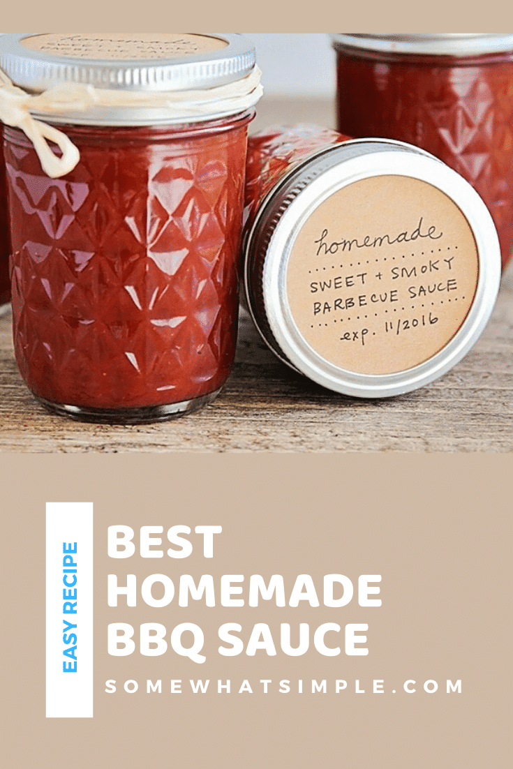 This homemade bbq sauce recipe is a tasty addition to your summer grilling menu! It has a sweet & smoky taste that is incredibly delicious! Plus, it's easy to make and perfect for canning. #grilling #homemadebbqsauce #barbecuesauce #easybbqsaucerecipe #howtomakebbqsauce via @somewhatsimple