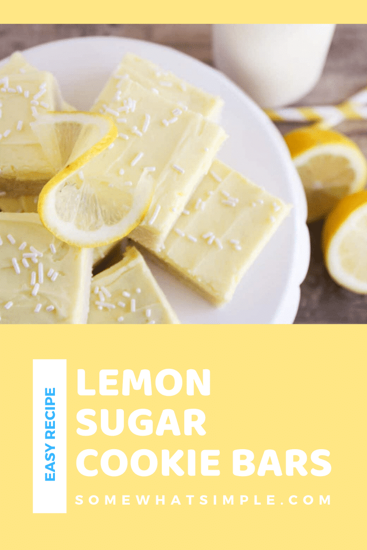 These sugar cookie lemon bars have all the deliciousness of sugar cookies, but without the rolling and cutting. This tasty lemon bars are topped with an incredible lemon buttercream frosting! #dessert #dessertrecipes #lemondessert #sugarcookies #lemonrecipeideas #lemonsugarcookiebars via @somewhatsimple
