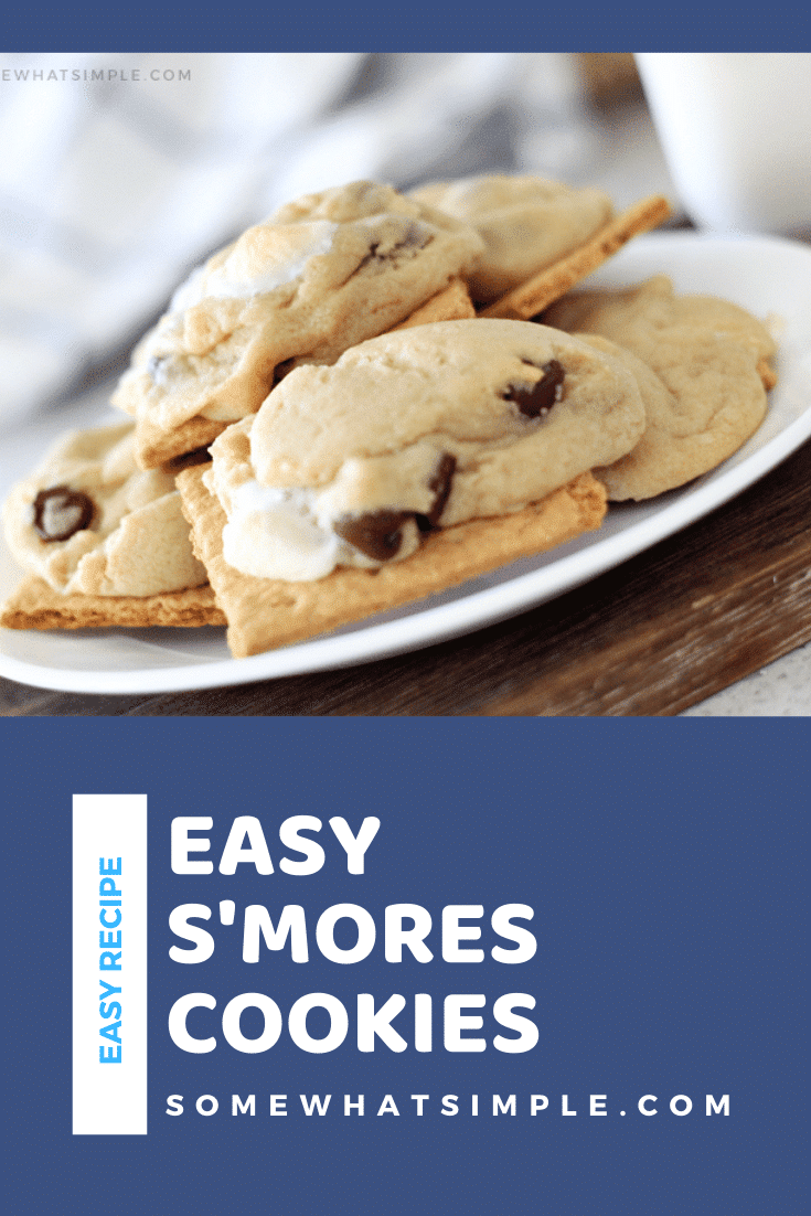 Now you can have the deliciousness of s'mores all year round! These s'mores cookies are so simple to make, people will be begging for the recipe! Made with the delicious combination of chocolate, graham crackers and a hot, gooey marshmallow, these cookies are irresistible! #smorescookies #howtomakesmorescookies #campingrecipes #easysmorescookies #smorescookierecipe via @somewhatsimple