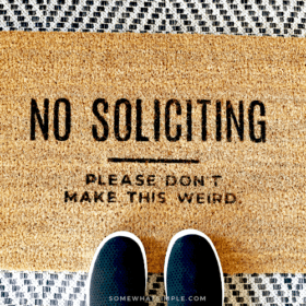 "Welcome Mat that says ""No Soliciting. Please don't make this weird."""