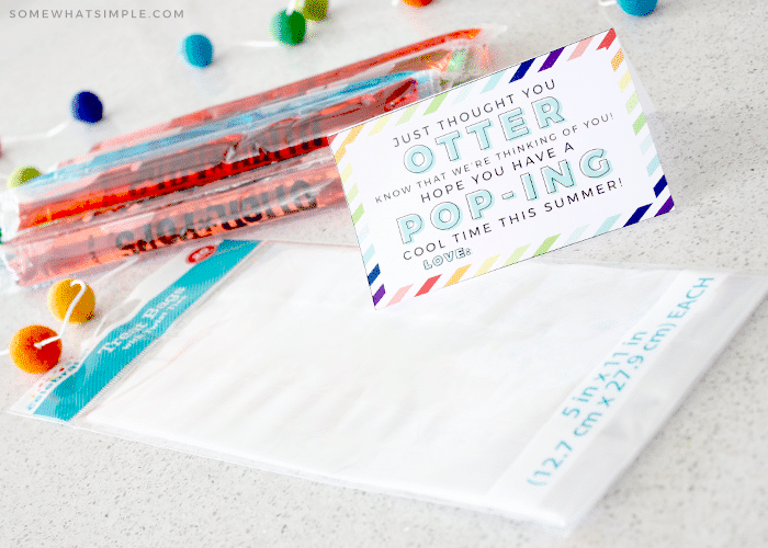 otter pops on the counter with a printable gift card
