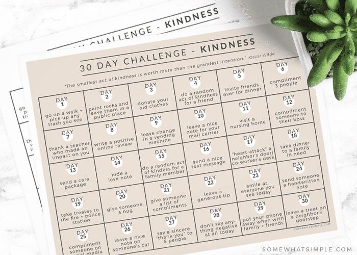 printable kindness challenge calendar