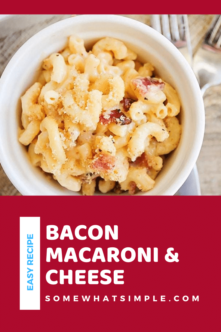 Five cheese bacon mac and cheese is a tasty recipe that is quick and easy to make. This savory dinner is so cheesy and delicious that it has always been a family favorite! #fivecheesemacaroniandcheese #baconmacandcheese #homemademacandcheese #cheesymacaroniandcheese #easymacandcheese via @somewhatsimple