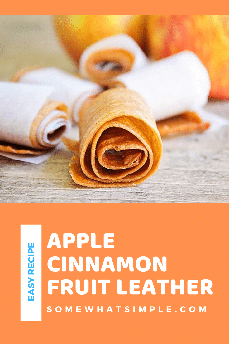 This apple cinnamon fruit leather is the perfect after school snack!  Made using just 4 ingredients, it's easy to make and healthy to eat. #fruitleather #howtomakefruitleather #applefruitleather #homemadefruitleather #howtomakefruitleather via @somewhatsimple
