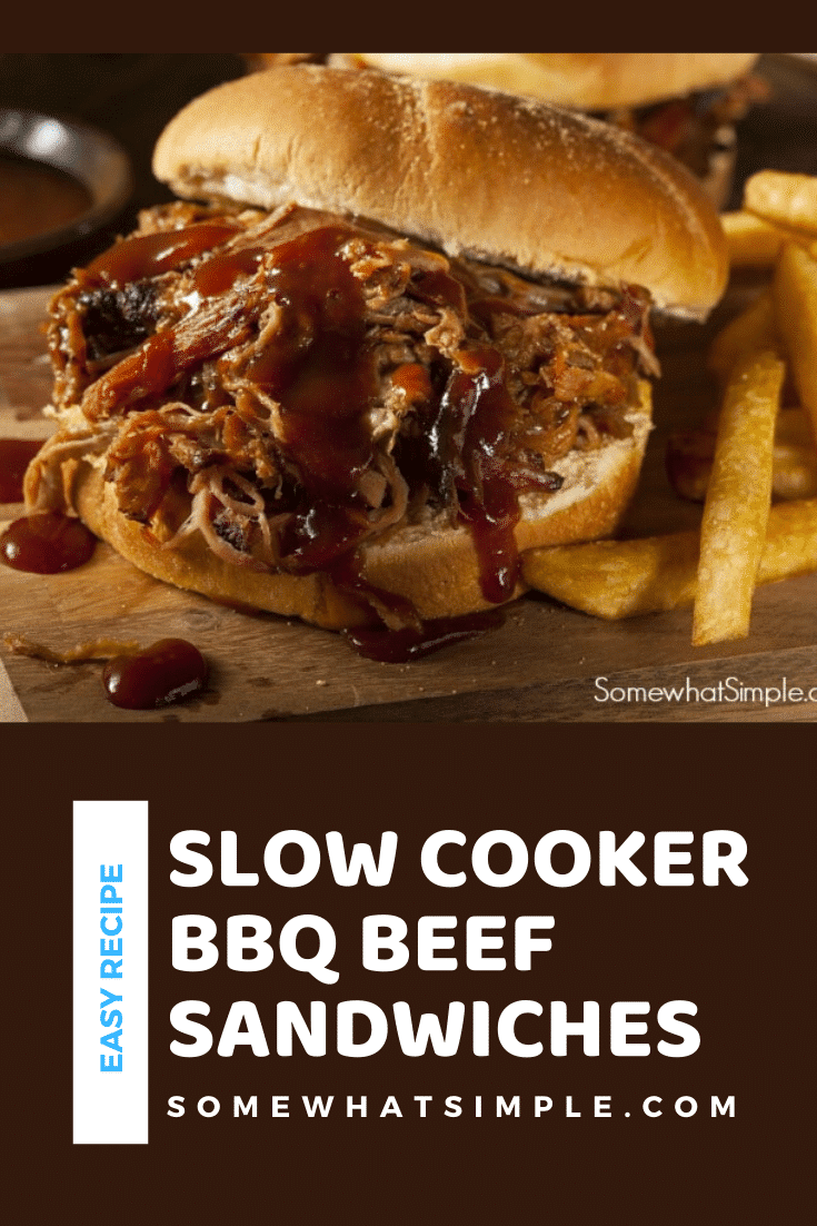 These Crock Pot BBQ beef sandwiches are cooked to perfection and dripping with flavor! Made with only 3 ingredients, they are take only minutes of prep. Not only are they delicious but they are super easy to make. #crockpotbbqbeefsandwiches #bbqbeefsandwiches #bbqbeefsandwichrecipe #easybbqsandwiches #bestbarbecuebeefrecipe via @somewhatsimple